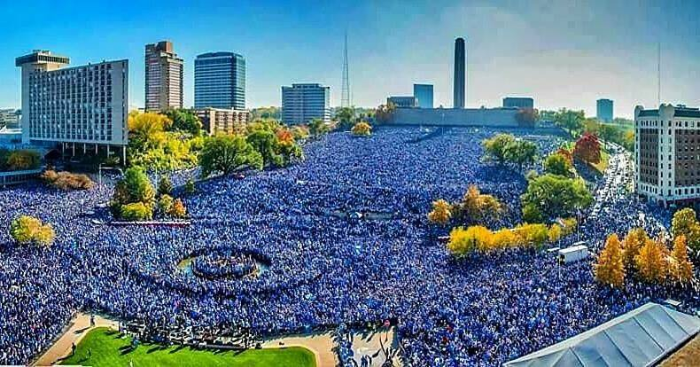 This is how you win the World Series! Proud to be a part of this great City! – Aubrey Owen