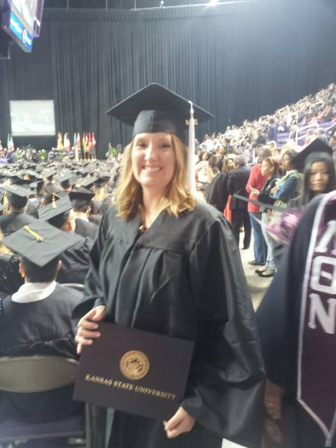 Aubrey Owen graduation walking at Kansas State University