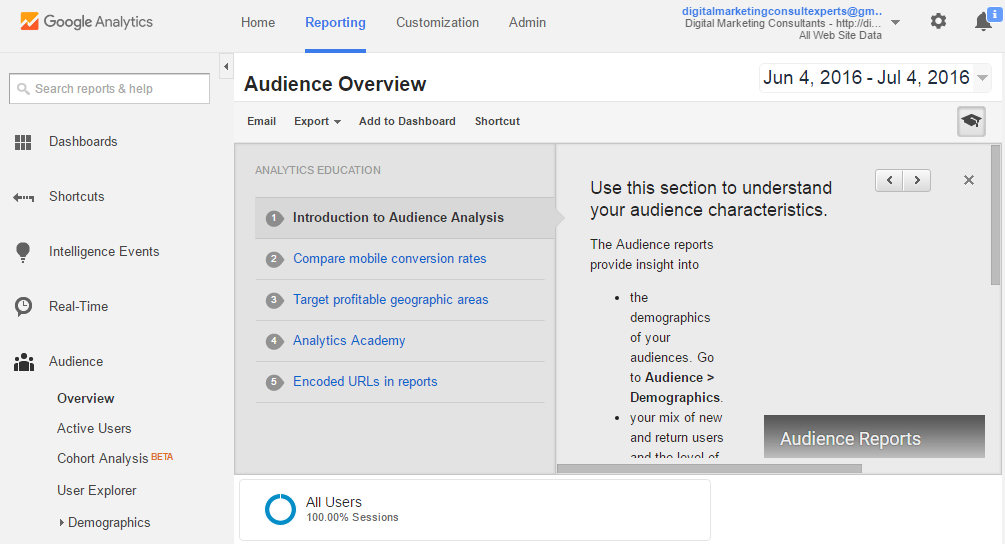 Google Analytics Explanation by DMCExperts Aubrey OWEN
